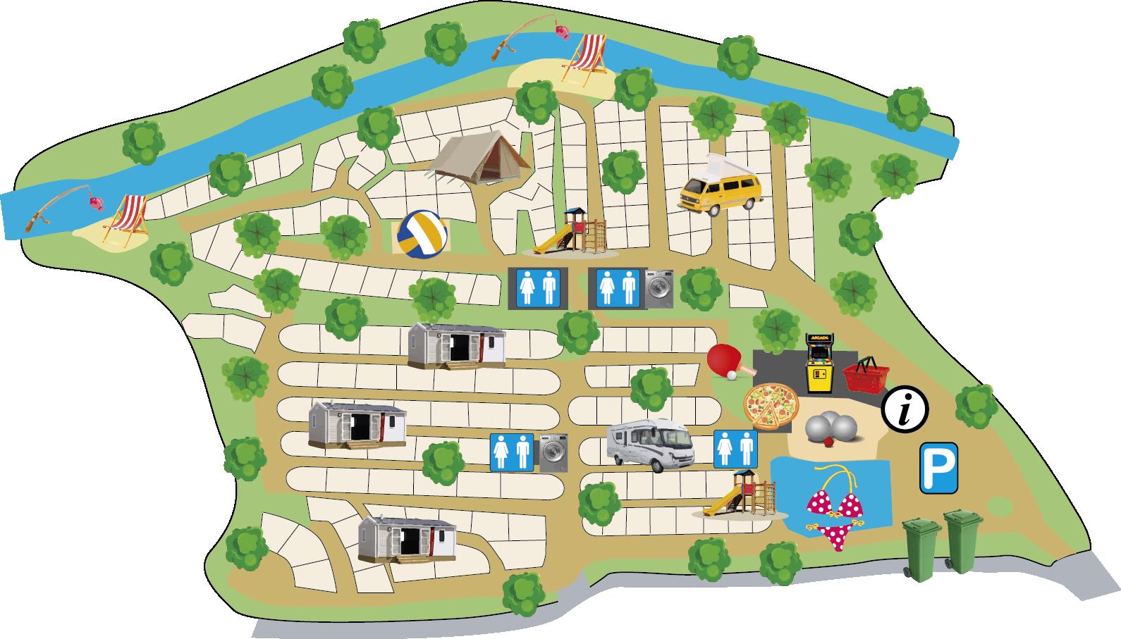 Map of the Ludo campsite